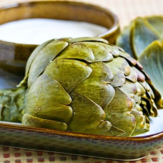 How to Cook Artichokes in the Pressure Cooker from Kalyn's Kitchen found on SlowCookerFromScratch.com