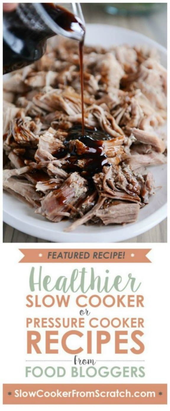 Slow Cooker or Instant Pot Sweet Balsamic Glazed Pork from Mel's Kitchen Cafe featured on Slow Cooker or Pressure Cooker at SlowCookerFromScratch.com