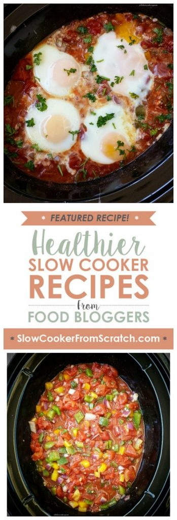 Easy Slow Cooker Shakshuka from Fit Slow Cooker Queen featured on SlowCookerFromScratch.com