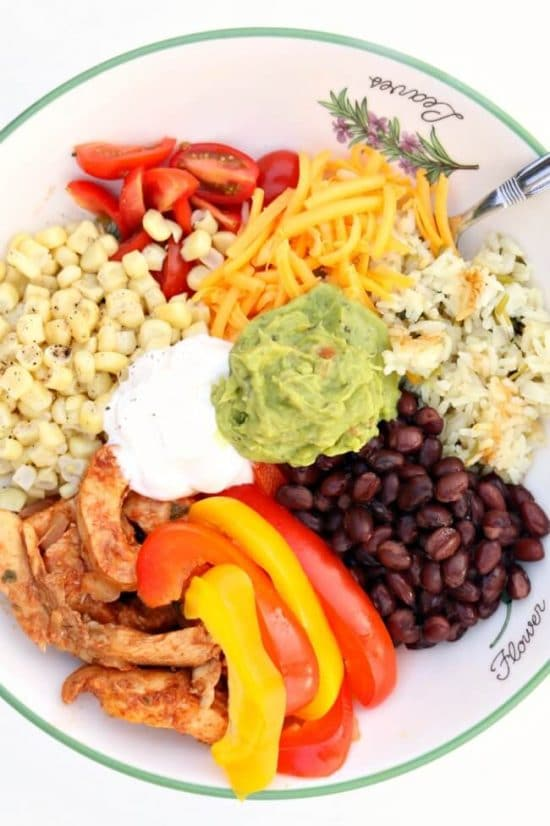 Instant Pot or Slow Cooker Chicken Fajita Bowls from 365 Days of Slow + Pressure Cooking