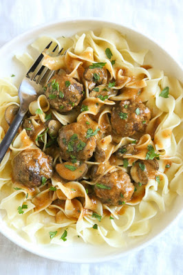 Turkey Meatball Stroganoff made in the Instant Pot, Slow Cooker, or Stove Top from Skinnytaste featured on Slow Cooker or Pressure Cooker at SlowCookerFromScratch.com