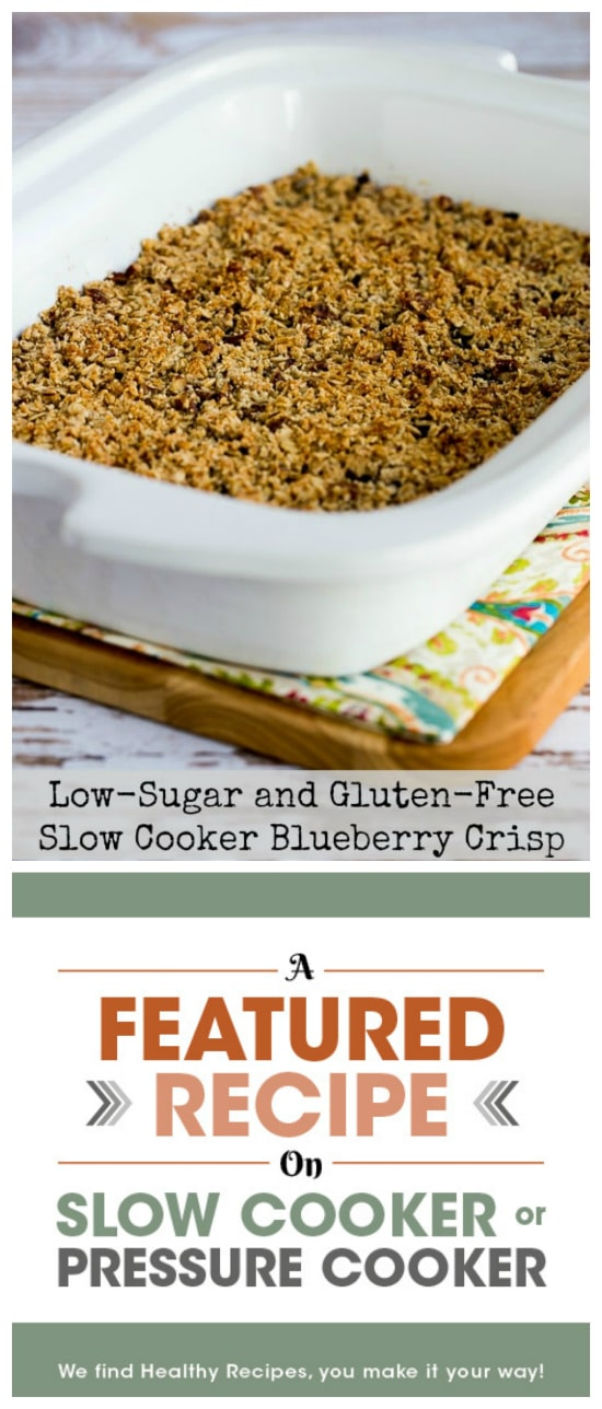 Low-Sugar and Gluten-Free Slow Cooker Blueberry Crisp from Kalyn's Kitchen featured on Slow Cooker or Pressure Cooker