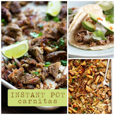 The BEST Instant Pot or Pressure Cooker Pork Carnitas from Food Bloggers featured on SlowCookerFromScratch.com