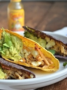 15 Delicious Recipes for Slow Cooker Chicken Tacos from Food Bloggers found on SlowCookerFromScratch.com