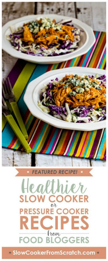 Slow Cooker (or Pressure Cooker) Buffalo Chicken and Blue Cheese Cabbage Bowl from Kalyn's Kitchen featured on SlowCookerFromScratch.com
