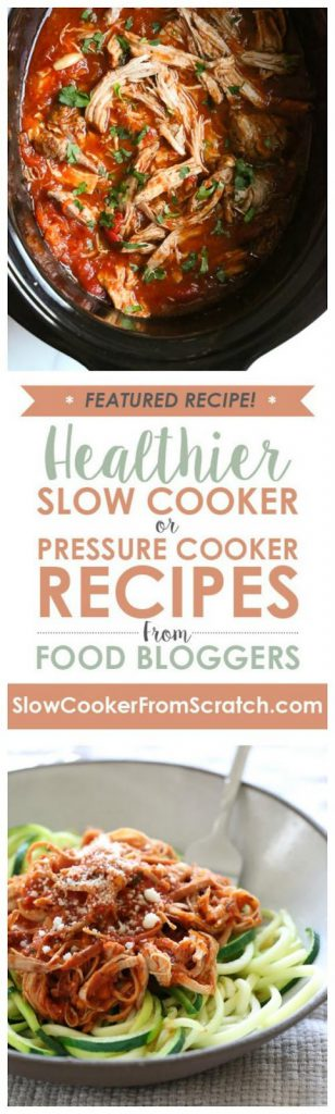Instant Pot or Slow Cooker Italian Pulled Pork Ragu from Skinnytaste featured on SlowCookerFromScratch.com