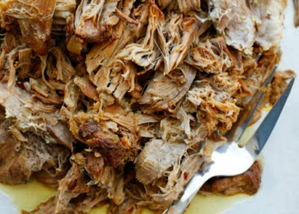 Instant Pot or Slow Cooker Sweet and Tangy Pulled Pork from Barefeet in the Kitchen featured on Slow Cooker or Pressure Cooker at SlowCookerFromScratch.com