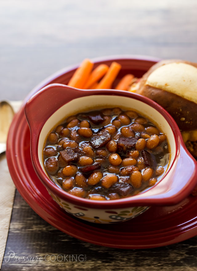 The BEST Instant Pot or Pressure Cooker Baked Beans Recipes featured on SlowCookerFromScratch.com