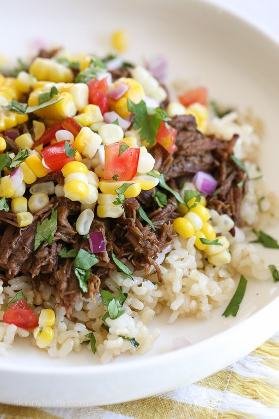 Barbacoa Beef from Skinnytaste (Pressure Cooker or Instant Pot) featured on Slow Cooker or Pressure Cooker at SlowCookerFromScratch.com