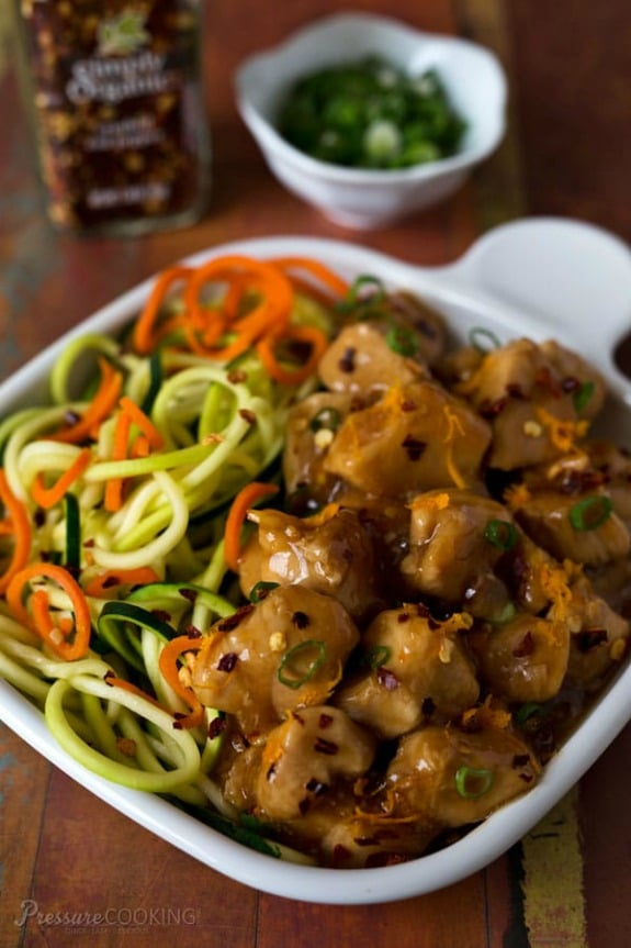 Pressure Cooker Orange Chicken from Pressure Cooking Today featured on Slow Cooker or Pressure Cooker at SlowCookerFromScratch.com