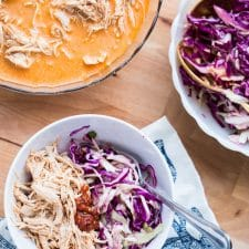 Instant Pot or Slow Cooker Red Curry Chicken with Slaw from Perry's Plate featured on Slow Cooker or Pressure Cooker at SlowCookerFromScratch.com