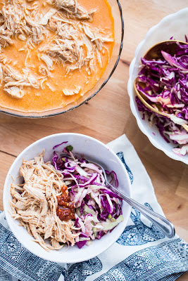 Instant Pot or Slow Cooker Red Curry Chicken with Slaw from Perry's Plate featured on SlowCookerFromScratch.com