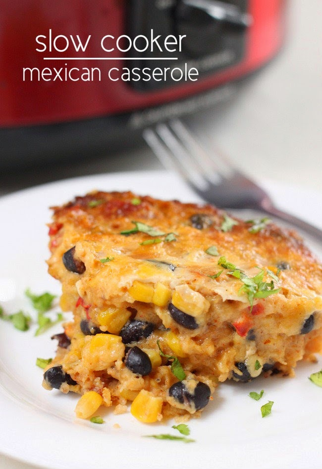 Vegetarian Slow Cooker Mexican Casserole from Amuse Your Bouche found on SlowCookerFromScratch.com