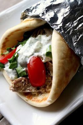 Instant Pot or Slow Cooker Chicken Gyros from 365 Days of Slow Cooking featured on SlowCookerFromScratch.com