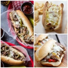 The Best Instant Pot and Slow Cooker Philly Cheesesteak Sandwiches featured on Slow Cooker or Pressure Cooker at SlowCookerFromScratch.com
