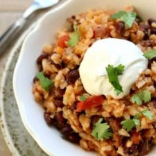 Instant Pot or Slow Cooker Mexican Black Beans and Rice featured on Slow Cooker or Pressure Cooker at SlowCookerFromScratch.com