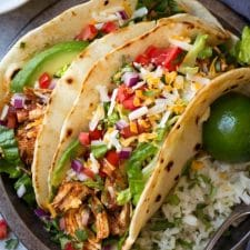 Instant Pot or Slow Cooker Salsa Chicken Tacos from Cooking Classy featured on Slow Cooker or Pressure Cooker at SlowCookerFromScratch.com