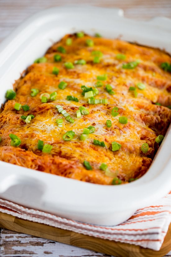 Low-Carb Slow Cooker Sour Cream Chicken Enchiladas from Kalyn's Kitchen