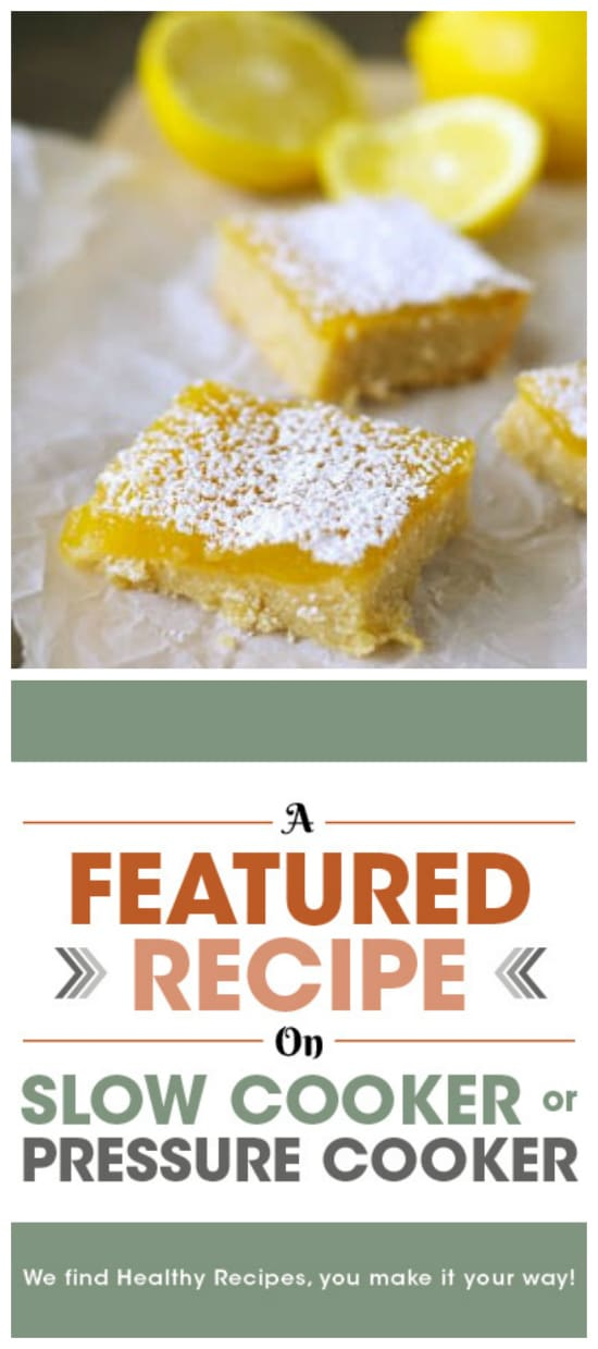 Pinterest image for Slow Cooker Lemon Cookie Bars from Slow Cooker Gourmet