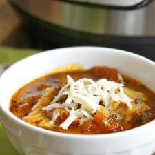 Instant Pot or Slow Cooker Lasagne Soup from The Typical Mom featured on Slow Cooker or Pressure Cooker at SlowCookerFromScratch.com
