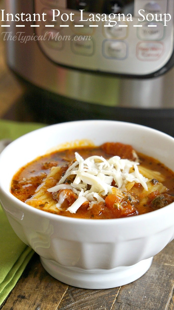 Instant Pot or Slow Cooker Lasagna Soup from The Typical Mom featured on Slow Cooker or Pressure Cooker at SlowCookerFromScratch.com