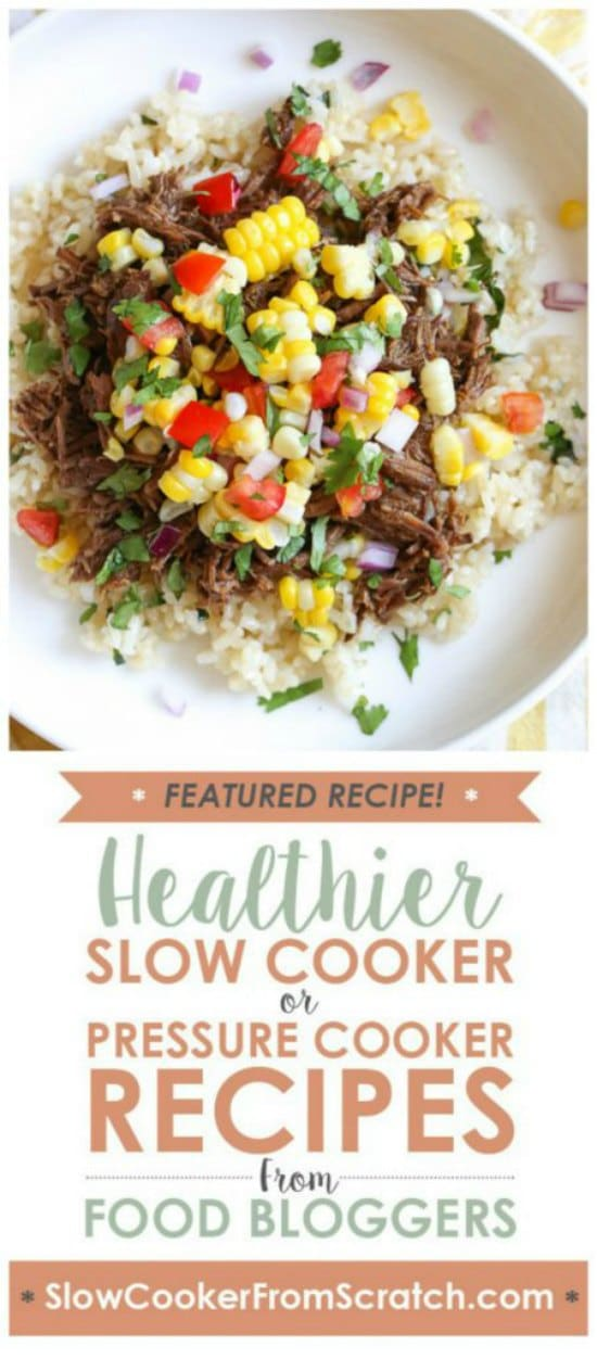 Barbacoa Beef from Skinnytaste (Pressure Cooker or Instant Pot) featured on Slow Cooker or Pressure Cooker