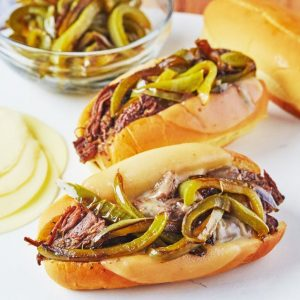 Pressure Cooker Italian Beef Sandwiches from The Kitchn (Slow Cooker or Pressure Cooker) featured on Slow Cooker or Pressure Cooker at SlowCookerFromScratch.com