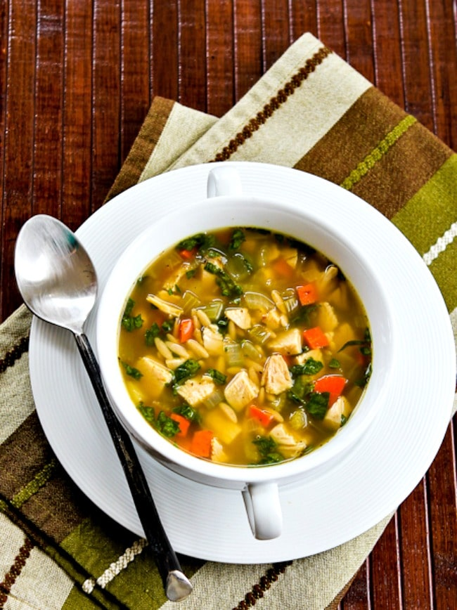 Slow Cooker Turkey Soup with Spinach and Lemon from Kalyn's Kitchen