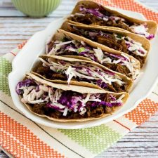 Pressure Cooker (or Slow Cooker) Low-Carb Flank Steak Tacos with Spicy Mexican Slaw from Kalyn's Kitchen featured on Slow Cooker or Pressure Cooker at SlowCookerFromScratch.com