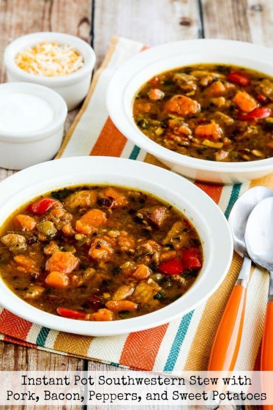 Instant Pot Southwestern Stew with Pork, Bacon, Peppers, and Sweet Potatoes from Kalyn's Kitchen