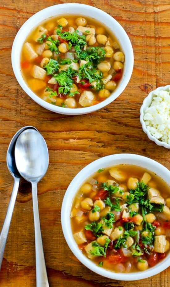 CrockPot Greek Chicken Soup with Garbanzos and Oregano from Kalyn's Kitchen