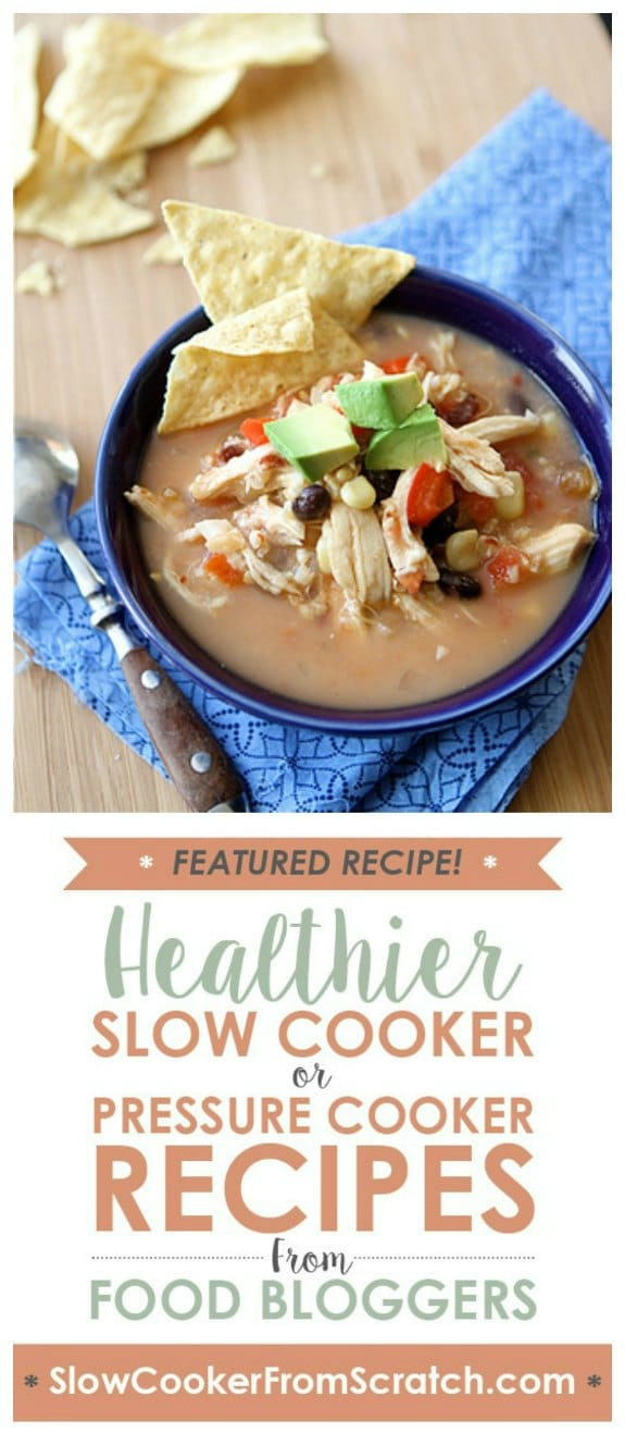 Slow Cooker Chicken Tortilla Soup Recipe with Black Beans and Corn from Cookin' Canuck featured on Slow Cooker or Pressure Cooker at SlowCookerFromScratch