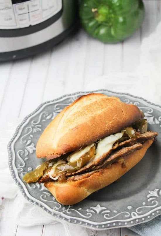 The BEST Instant Pot or Slow Cooker Philly Cheesesteak Sandwiches found on Slow Cooker or Pressure Cooker