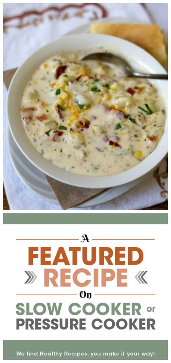 Pressure Cooker Chunky Potato Cheese Soup from Pressure Cooking Today featured on Slow Cooker or Pressure Cooker