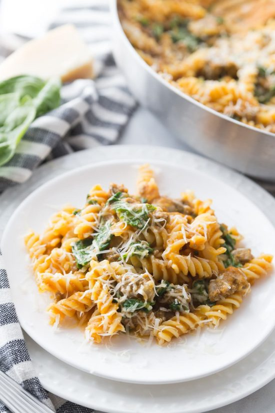 Instant Pot Pumpkin Pasta with Spicy Sausage from Confessions of a Fit Foodie