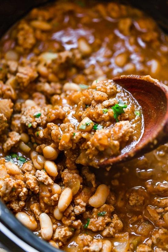 Slow Cooker or Instant Pot Turkey White Bean Pumpkin Chili from Skinnytaste