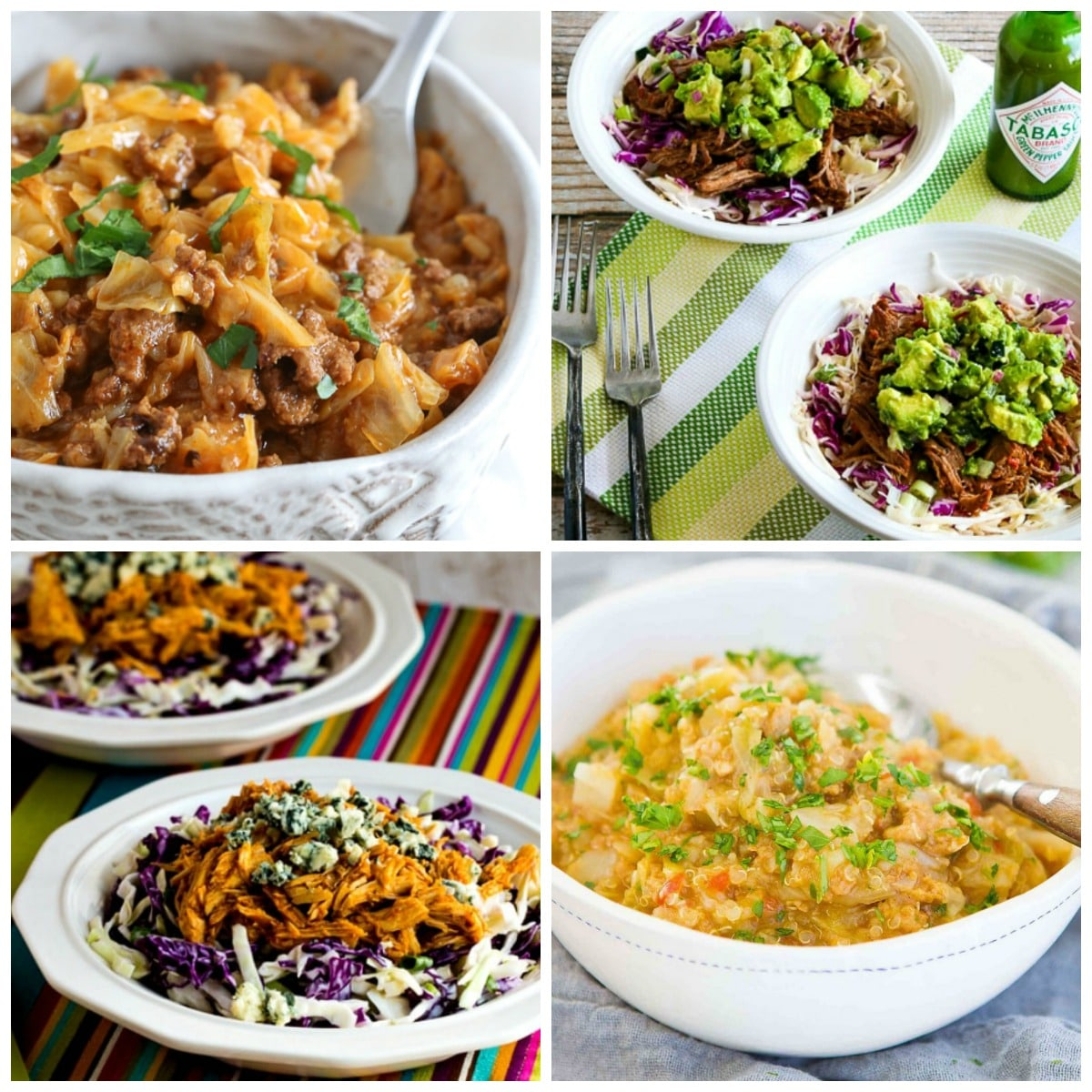Slow Cooker and Instant Pot Cabbage Bowls top collage photo