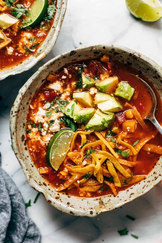 Instant Pot Sweet Potato Tortilla Soup from Pinch of Yum