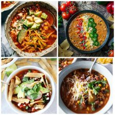 Four Fabulous Vegetarian Tortilla Soup Recipes top photo collage