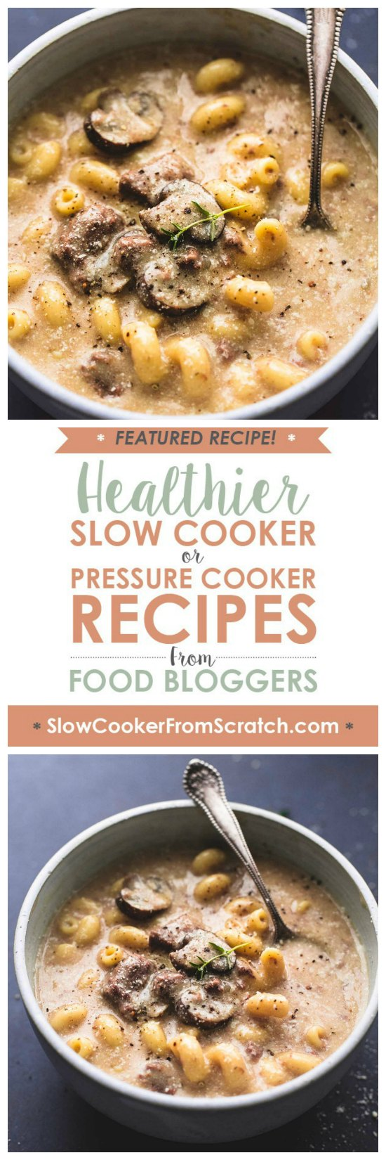 Instant Pot or Slow Cooker Beef Stroganoff Soup from Creme de la Crumb featured on Slow Cooker or Pressure Cooker at SlowCookerFromScratch.com
