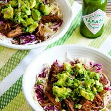 Green Chile Shredded Beef Cabbage Bowl from Kalyn's Kitchen