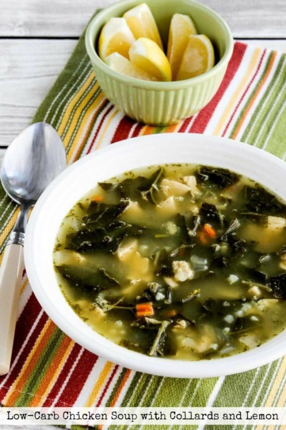 Low-Carb Chicken Soup with Collards, and Lemon from Kalyn's Kitchen