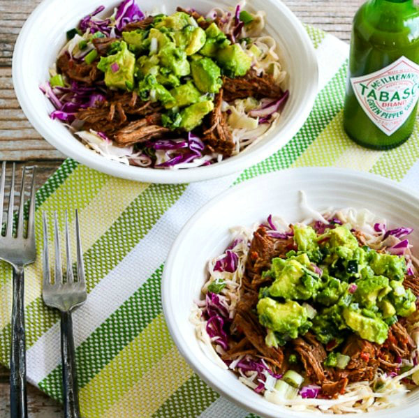 Green Chile Shredded Beef Cabbage Bowl square image of finished bowls