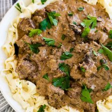 Easy Instant Pot Beef Stroganoff from Oh, Sweet Basil featured on Slow Cooker Or Pressure Cooker at SlowCookerFromScratch.com