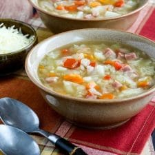 Instant Pot Low-Carb Ham and Cabbage Soup (also Slow Cooker or Stovetop) from Kalyn's Kitchen featured on Slow Cooker or Pressure Cooker at SlowCookerFromScratch.com
