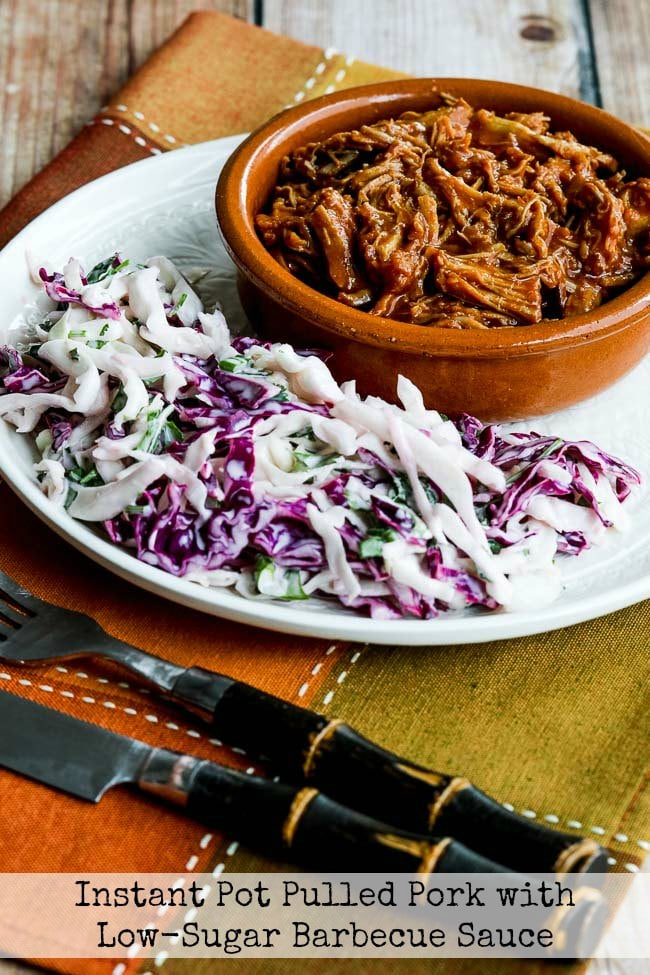 Instant Pot Pulled Pork with Low-Sugar Barbecue Sauce from Kalyn's Kitchen