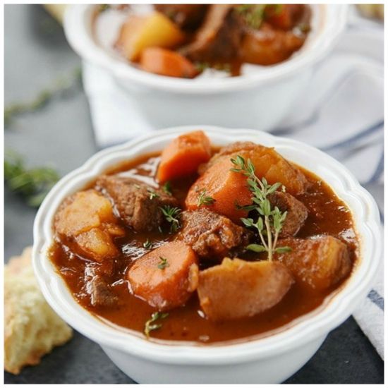 Instant Pot or Slow Cooker Italian Beef Stew from Your Home Based Mom featured on Slow Cooker or Pressure Cooker at SlowCookerFromScratch.com