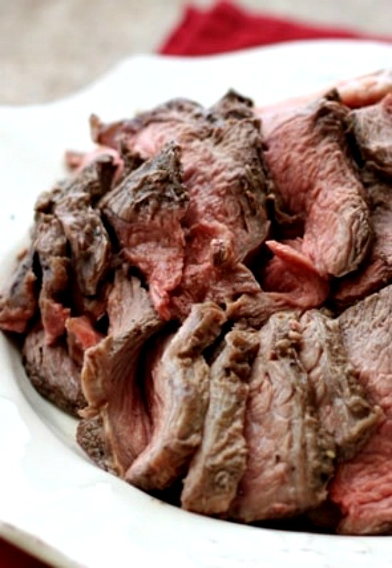 Perfectly Simple and Sliceable CrockPot Roast Beef from Barefeet in the Kitchen found on Slow Cooker or Pressure Cooker