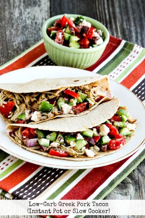 Instant Pot or Slow Cooker Low-Carb Greek Pork Tacos from Kalyn's Kitchen