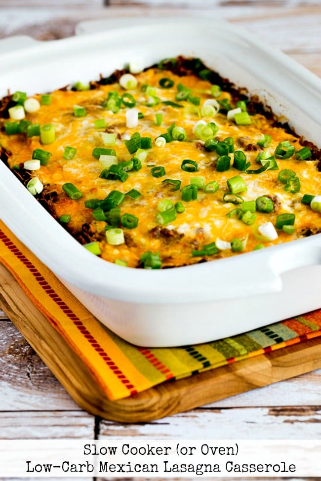 Slow Cooker Low-Carb Mexican Lasagna Casserole from Kalyn's Kitchen